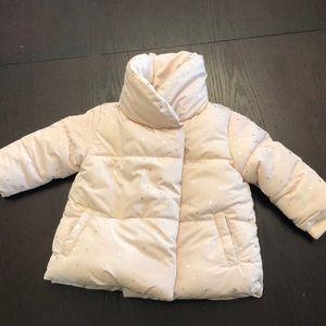 Zara Baby Pink Fur Lined Puffer Jacket 6/9 Months